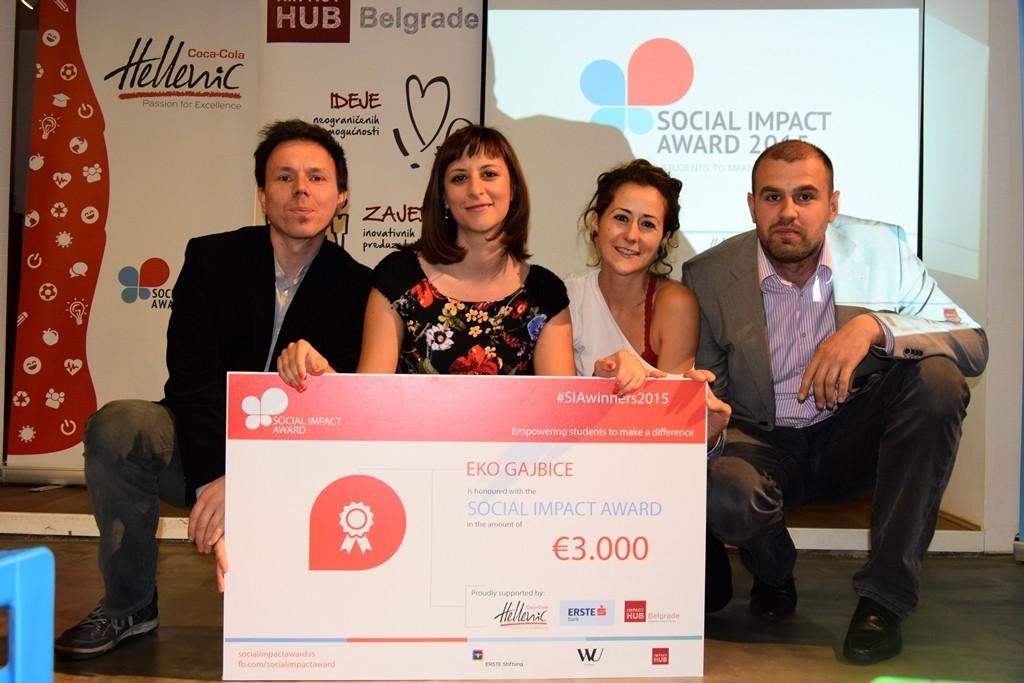 Druga nagrada projekat Eko gajbice Novi Sad, Social Impact Award