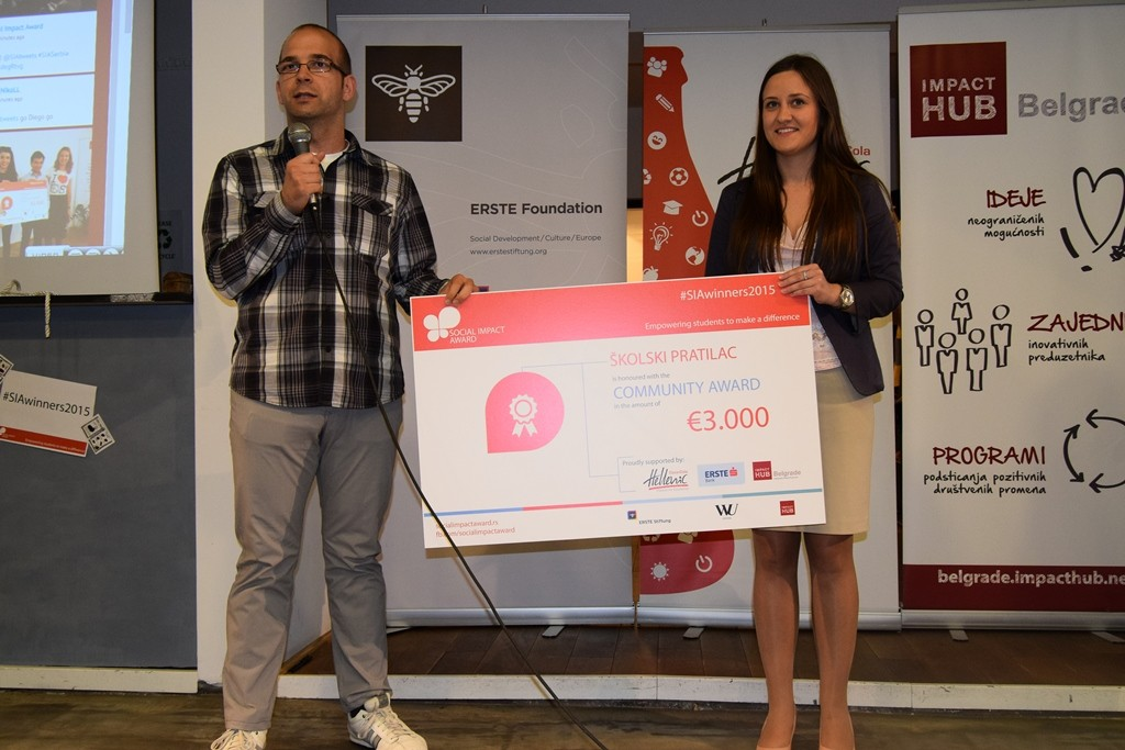 Treća nagrada projekat Školski pratilac Beograd, Social Impact Award