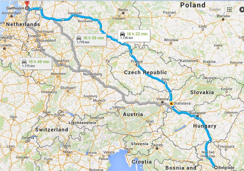 Mapa Beograd - Githorn. Izvor: google maps